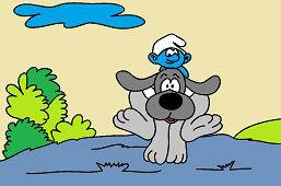 Смурф и собакa друг