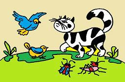 Кошка и птицы