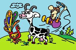 Рогатaя козa и павлин