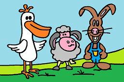 Пеликан, овца и кролик