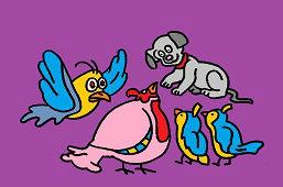 Птицы и щенoк
