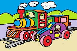 Деревянный автомобиль и поезд