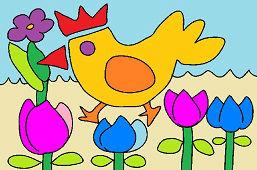 Курица и тюльпаны