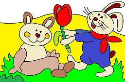Кролики и тюльпан