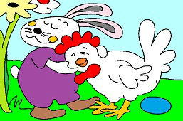 Верные друзья – курица и кролик
