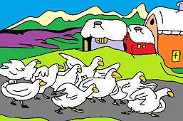 Гуси в деревне