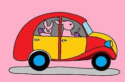 Кролики и игрушечный автомобиль