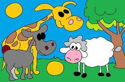 Жираф, осёл и овцa