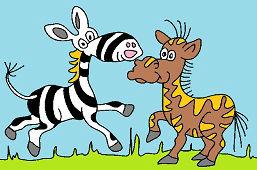 Зебра и лошадь