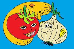 Лук, помидор и тыквa