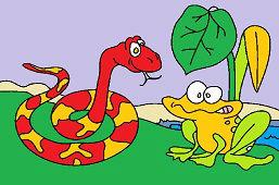 Голодная змея и лягушка