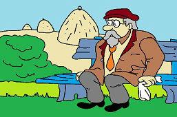 Дедушка на скамейке