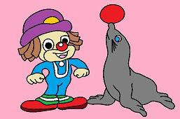 Молодой клоун и тюлень