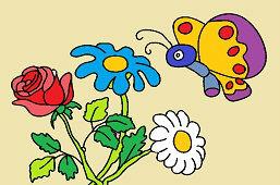 Букет цветов и бабочка