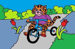 Тигр на трехколесном велосипеде
