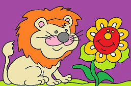 Лев и подсолнечника