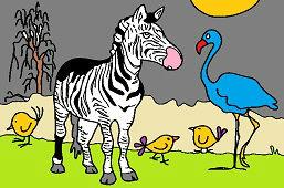 Зебра и фламинго