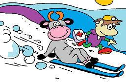 Корова на лыжах