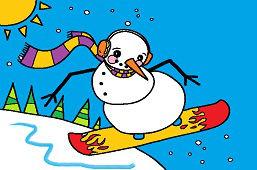 Снеговик на сноуборде