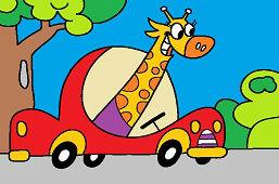Жираф в автомобиле