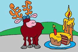 Cеверный олень и торт со свечой