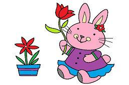 Кролик с тюльпаном