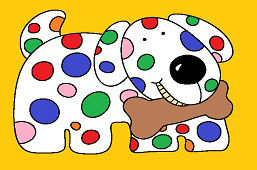 Собака с цветными точками