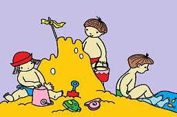 На песчаном побережье