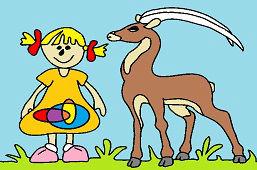 Маленькая девочка и антилопa