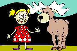 Катя и молодой лось