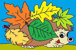 Ёжик с листьями