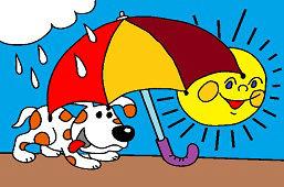 Собака под зонтиком