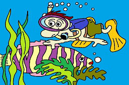 Дайвер и рыбa