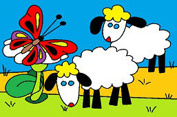Овцы и бабочка