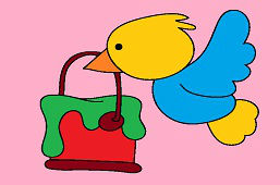 Птица с ведром краски