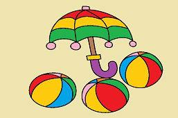 Зонтик и мячи