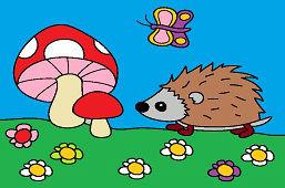 Ёжик и грибы