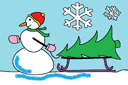 Снеговик и новогодняя ёлкa