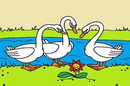 Три лебеди и цветок