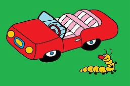 Автомобиль и гусеница