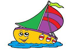 Парусная лодка с флагом
