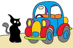 Чёрная кошка и автомобиль