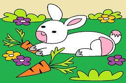 Кролик и морковки