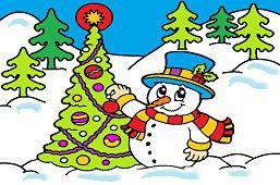 Снеговик и новогодняя елкa