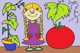 Девушка и помидор