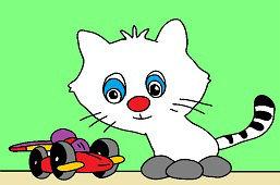 Котёнок и игрушечный автомобиль