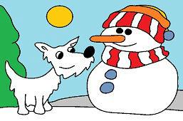 Собака и cнеговик