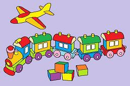 Игрушки – самолет, поезд и кубики