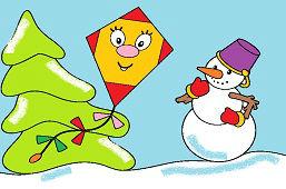 Снеговик и воздушный змей