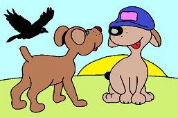 Две собаки и ворона